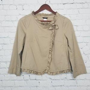J. Crew Womens Khaki Silk Ruffle Trimmed Jacket